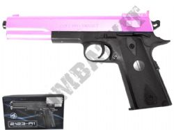 2123-A1 BB Gun Colt 1911 Long Replica Spring Airsoft Pistol 2 Tone Pink Black